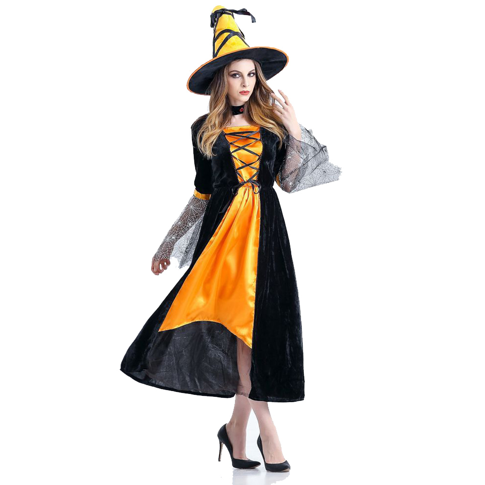 Women Halloween Stage Costume Horror Witch Cosplay Nightclub Theme Party Clothing Orange_One size