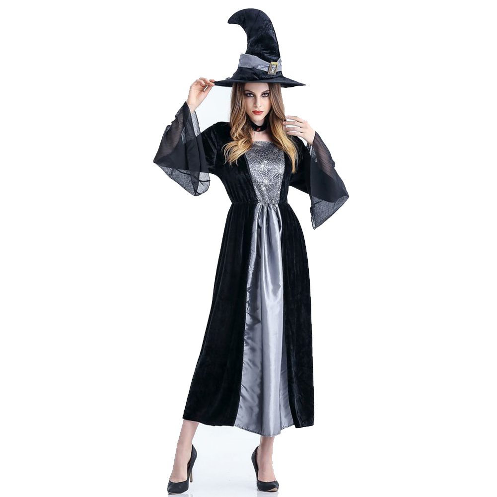 Women Halloween Stage Costume Horror Witch Cosplay Nightclub Theme Party Clothing gray_One size
