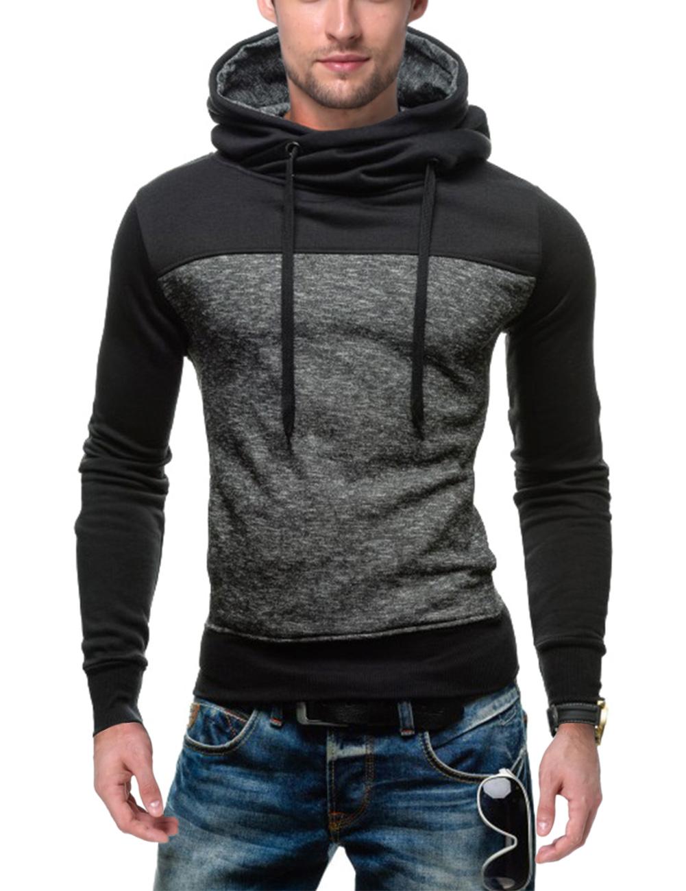 Men's Fashion Slim Colorblock Hoodies Sweatshirt Grey M