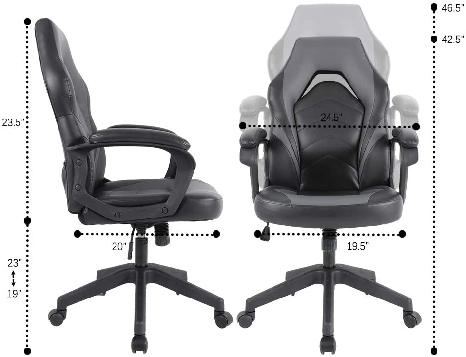 [US Direct] Original Smugdesk Racing Gaming Chair Executive Bonded Leather Computer Office Chair with Adjustable Height and Padding Armrest