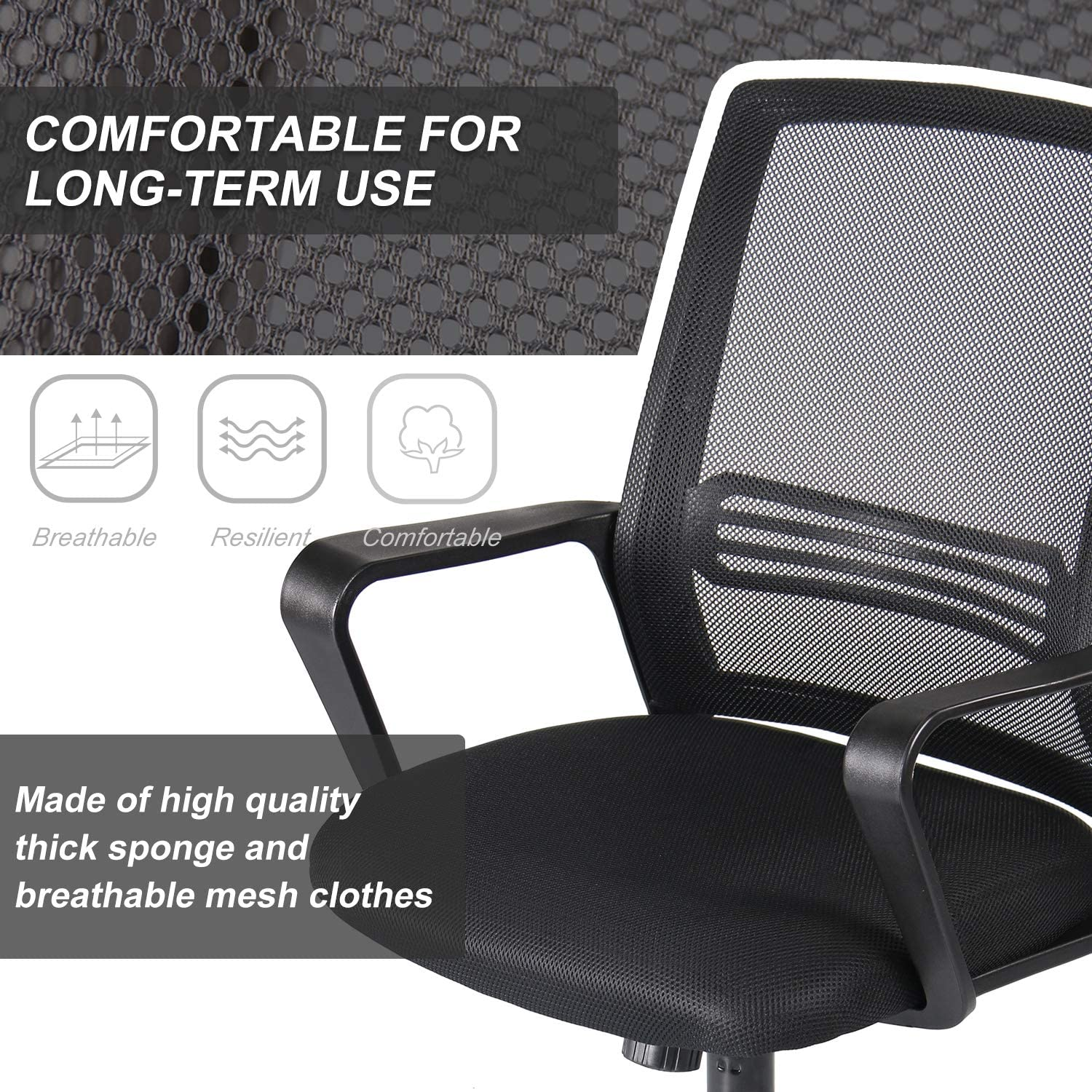 [US Direct] Original Smugdesk Office Chair, Mid Back Mesh Office Computer Swivel Desk Task Chair, Ergonomic Executive Chair with Armrests, black