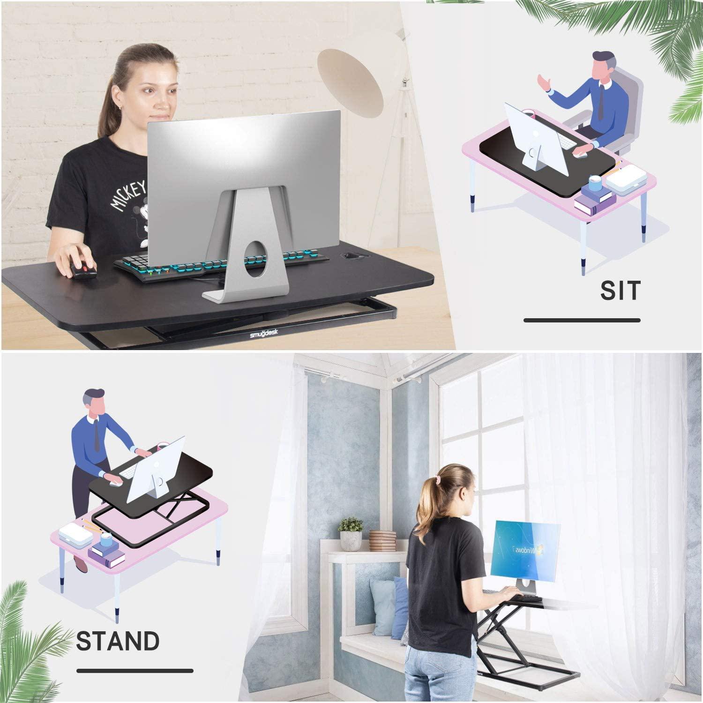 [US Direct] Original Smugdesk Standing Desk 32 inch Height Adjustable Standing Desk Converter Gas Spring Stand Up Computer Desk Fits Dual Monitors, Sit-Stand Laptop Riser