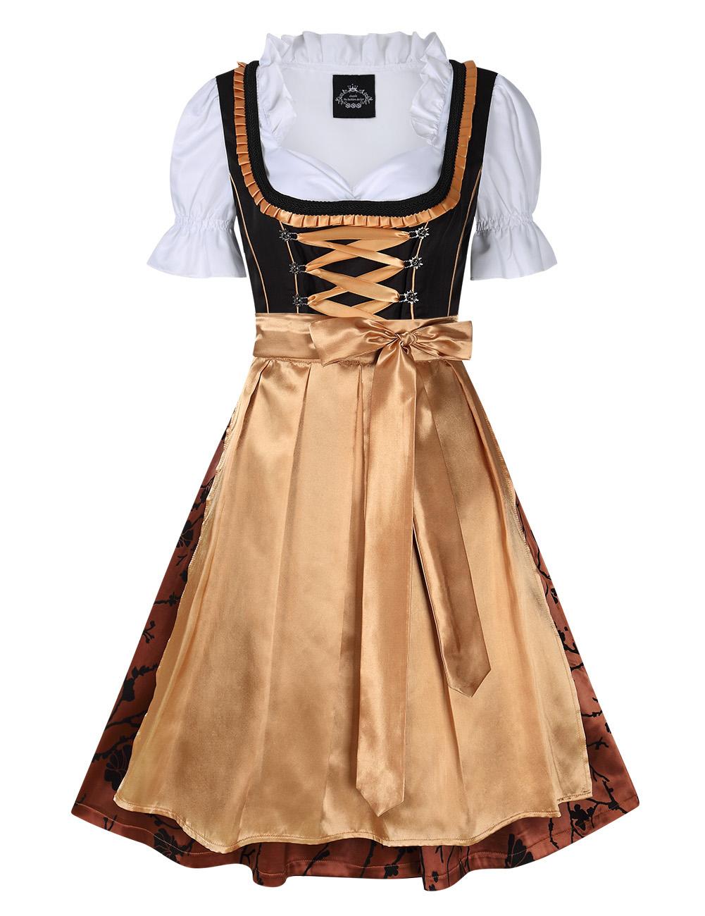[EU Direct] Women's Classic Stylish Dirndl Dress Three PCS Suit for Bavarian Oktoberfest Costumes