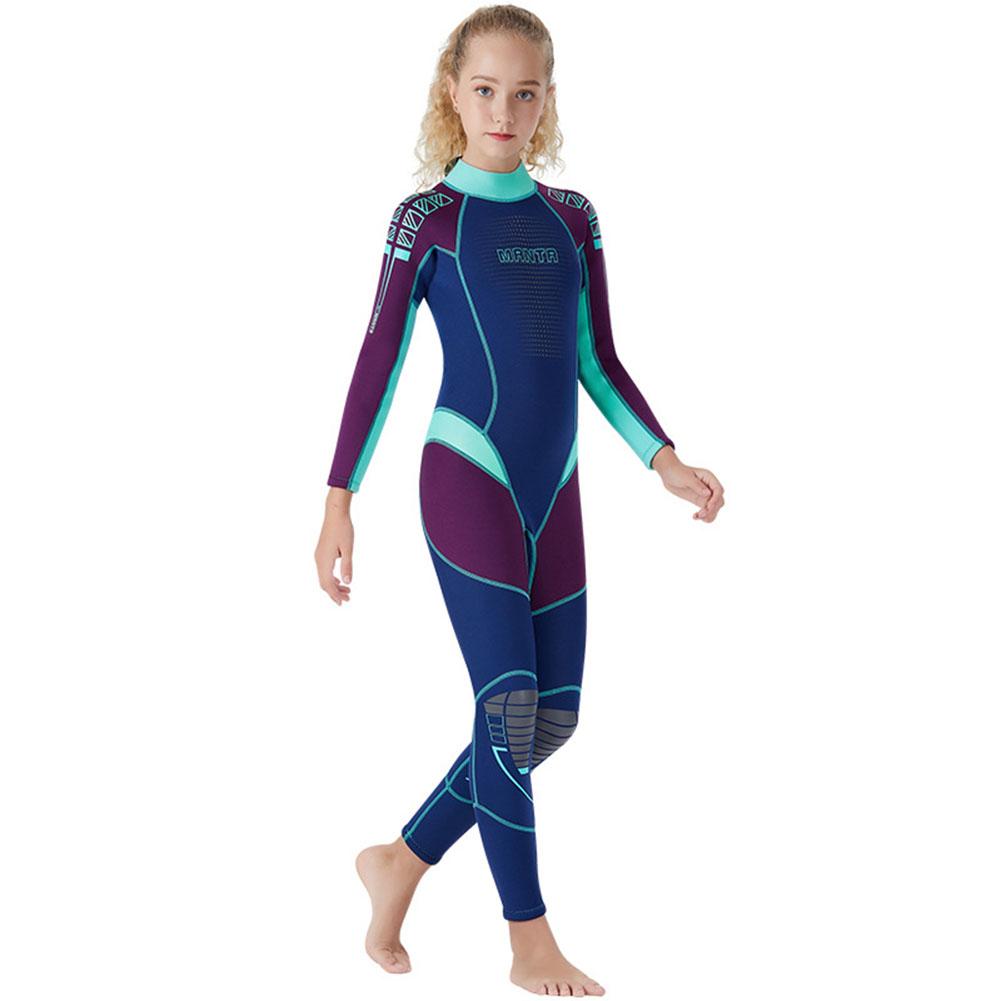 Children Diving Suit 2.5MM Thicken Warm Junior Siamese Long Sleeve Surfing Diving Suit purple_S
