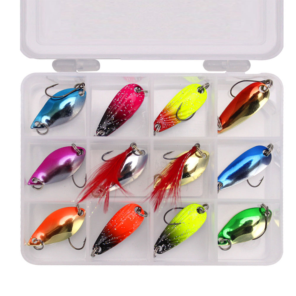 Colorful Fishing Lure Hard Metal Fishing Spoon Lure Set Walleye Trout Spoon Baits Spoon Jig Baits 12 pieces A