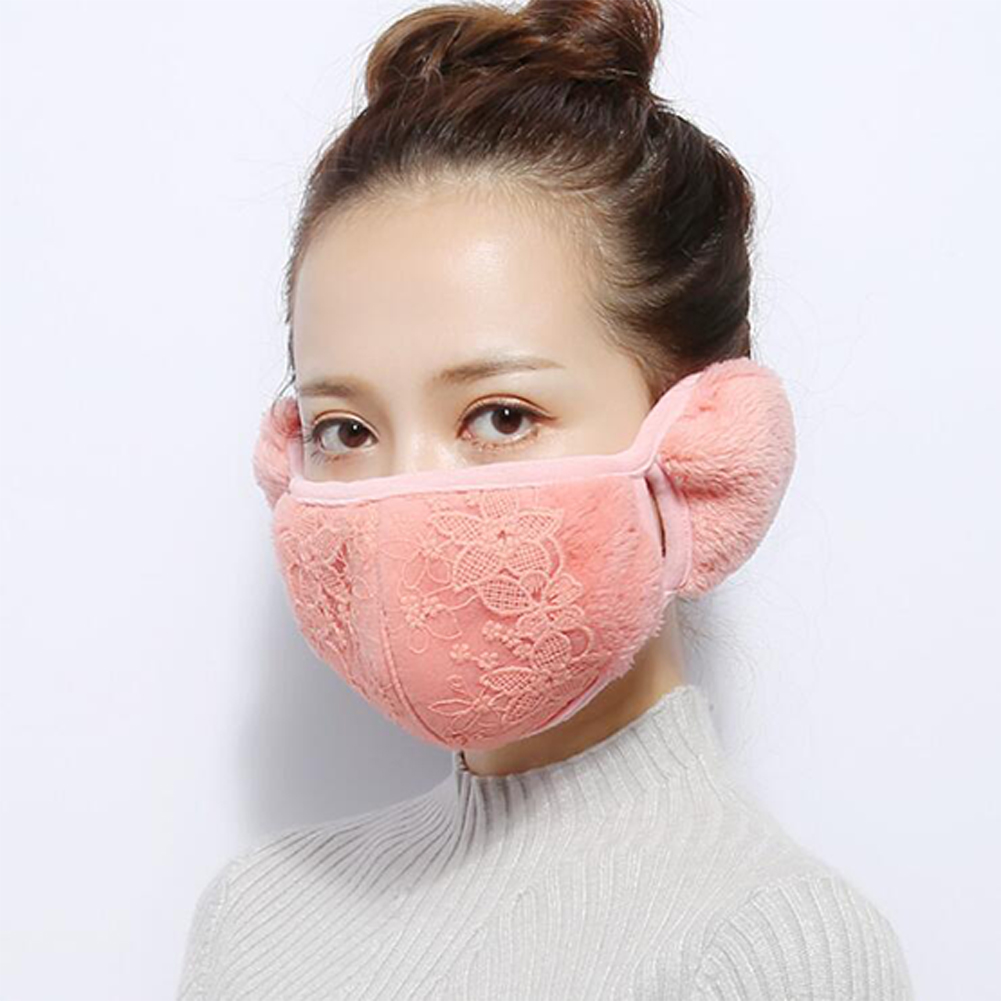 2 in 1 Unisex Warm Ear Cover + Dust-proof Mask Perfect Wear Accessory for Winter champagne