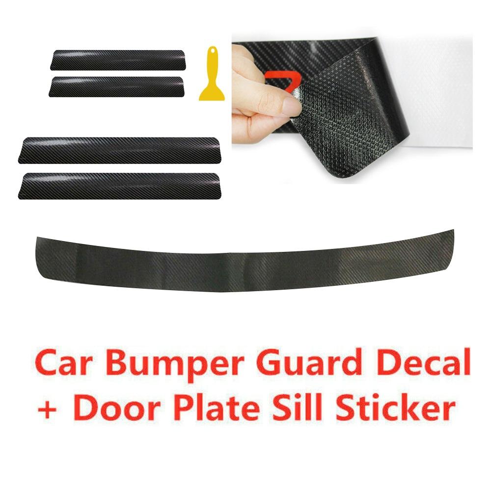 60x6.7cm Universal Car Stickers Door Sill Slipper Anti Scratch Carbon Fiber Auto Sticker Decals Photo Color