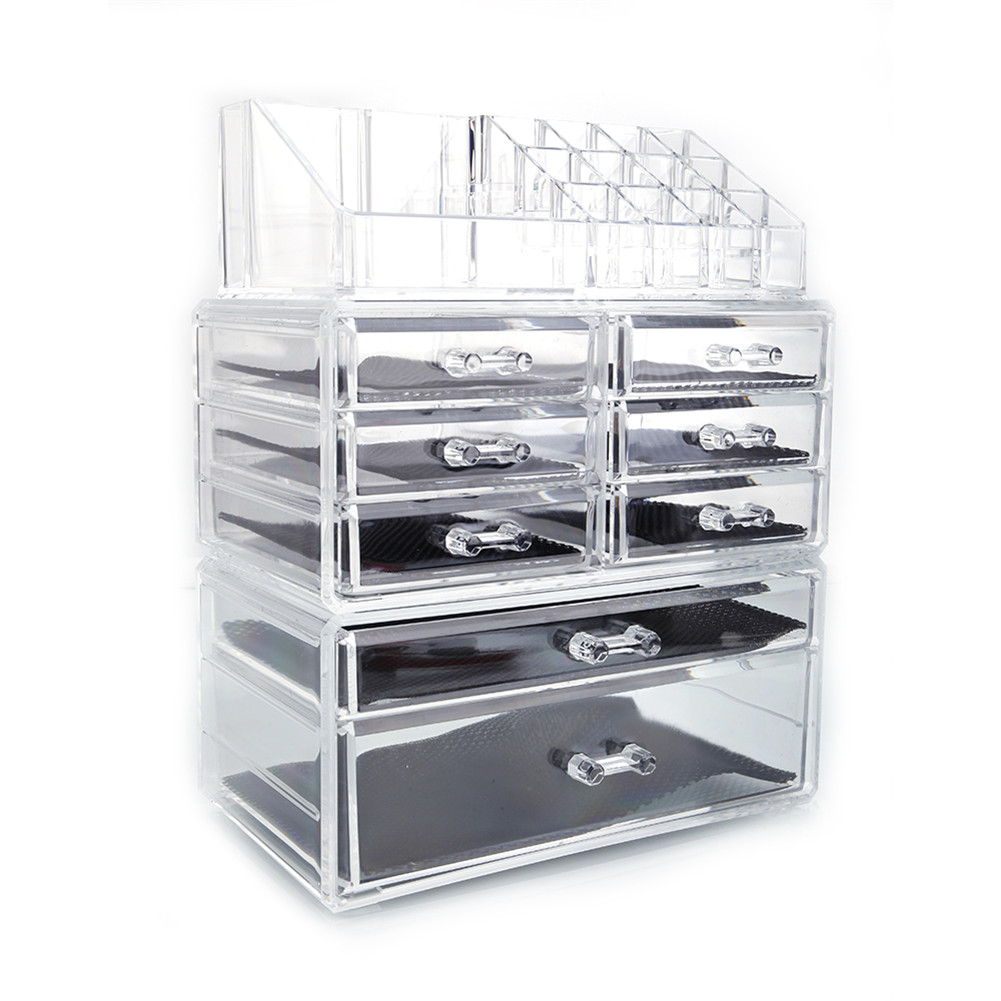 [US Direct] 3piece/set SF-1122-1  Transparent Cosmetic Storage  Rack With 6 Small Drawers + 2 Large Drawers Transparent