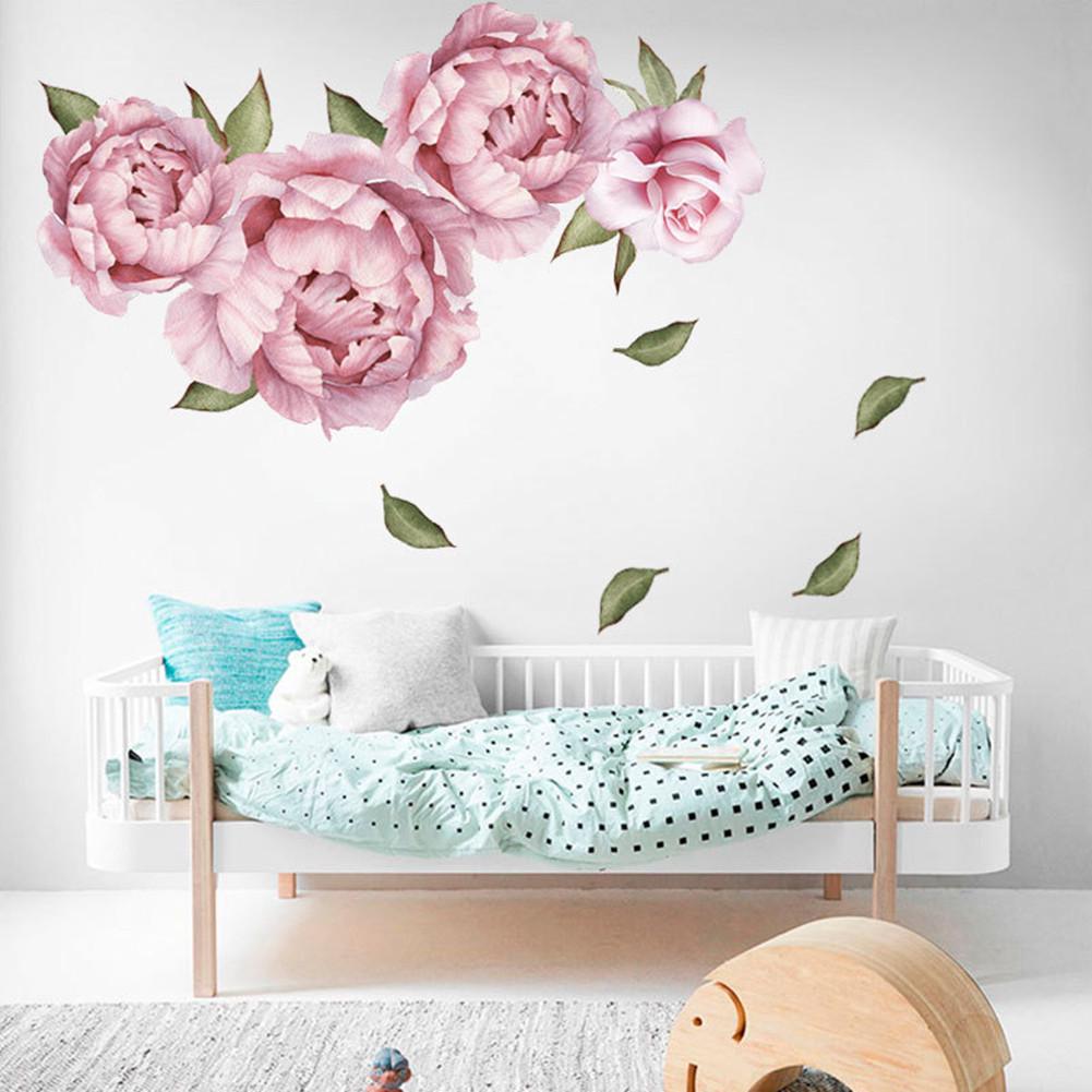 Rose Pink Peony Pattern Wall Sticker DIY Romantic Paster Home Living Room Decor 40 * 60cm 40 * 60cm