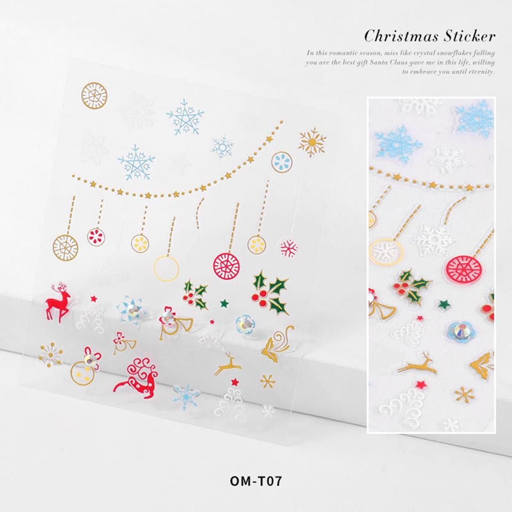 Nail sticker Cartoon Christmas Series Nail Art With Diamond Stickers 3d Santa Snowflake Nail Decoration Stickers 3D Christmas model with diamond sticker-07