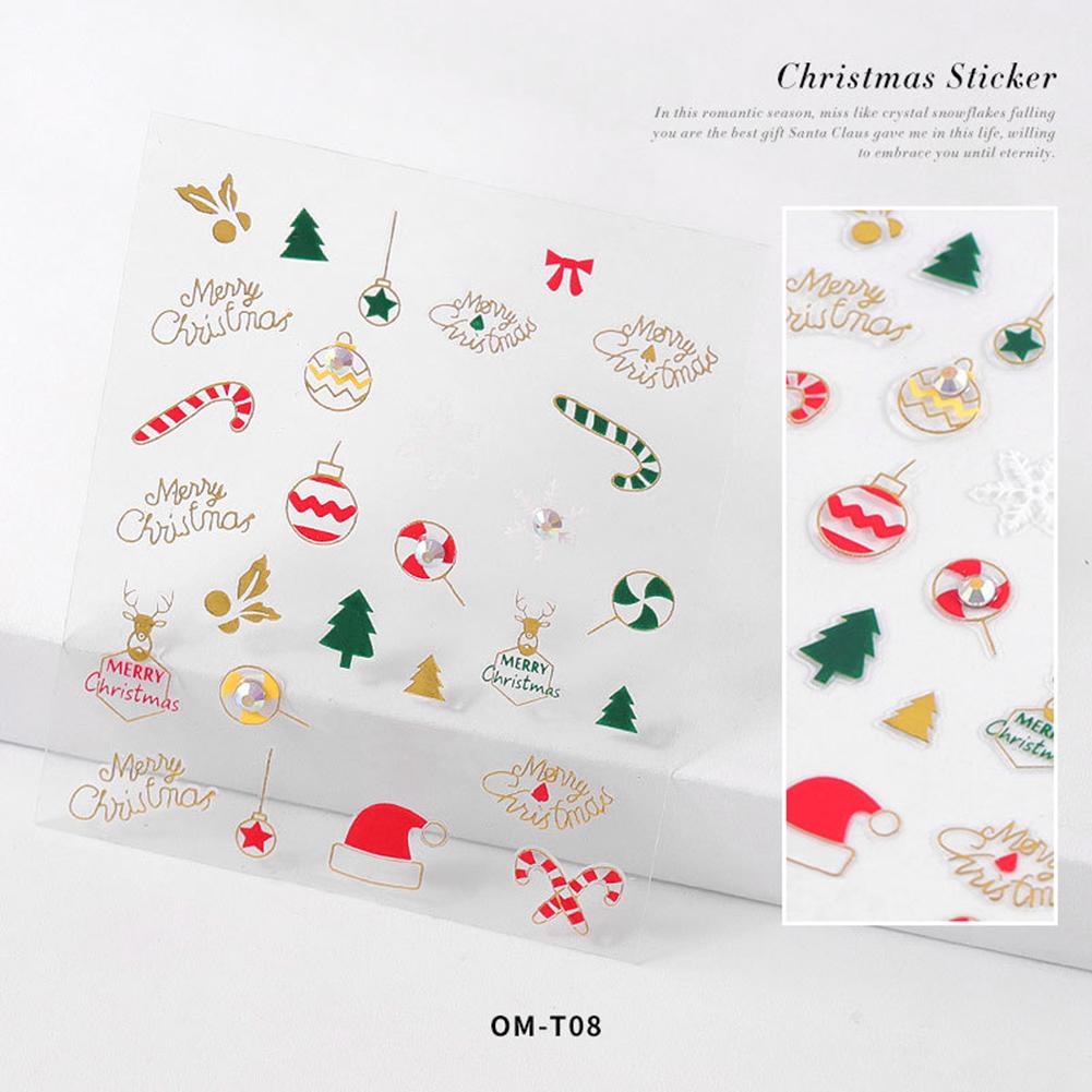 Nail sticker Cartoon Christmas Series Nail Art With Diamond Stickers 3d Santa Snowflake Nail Decoration Stickers 3D Christmas model with diamond sticker-08