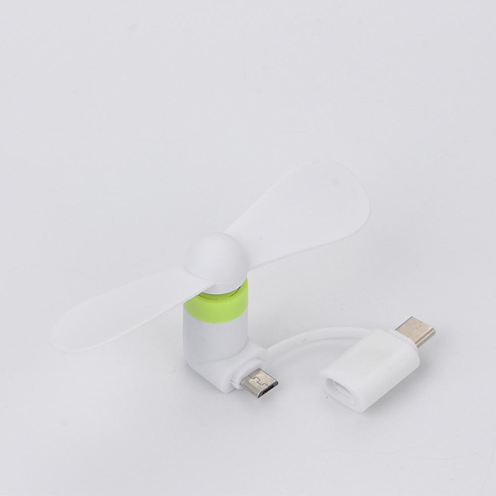 2 in 1 USB Fan Mini Portable Flexible Gadgets for Apple Android Xiaomi Powerbank white_fan + opp bag
