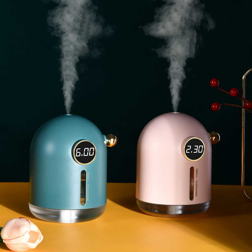 Submarine Mini Air Humidifier Retro Home Car USB Fogger Mist Maker with LED Night Lamp Dark green