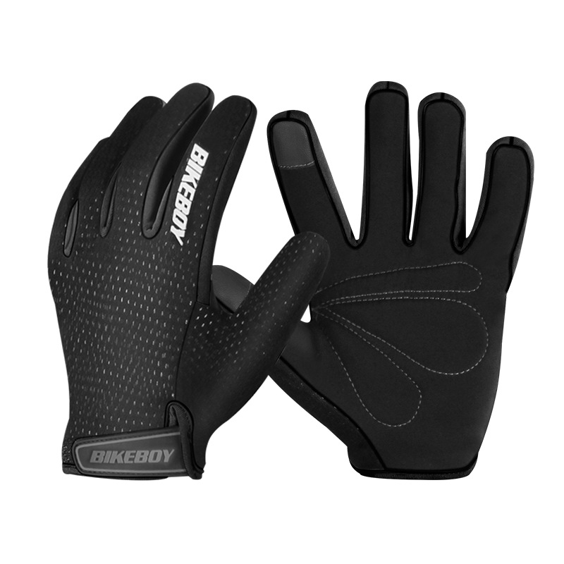 Riding Gloves Full Fingers Warm Windproof Touch Screen Mountain Motorcycle Gloves Men And Women Motocross Riding Equipment black_M