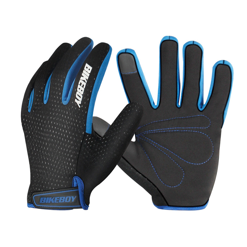 Riding Gloves Full Fingers Warm Windproof Touch Screen Mountain Motorcycle Gloves Men And Women Motocross Riding Equipment Black blue_L