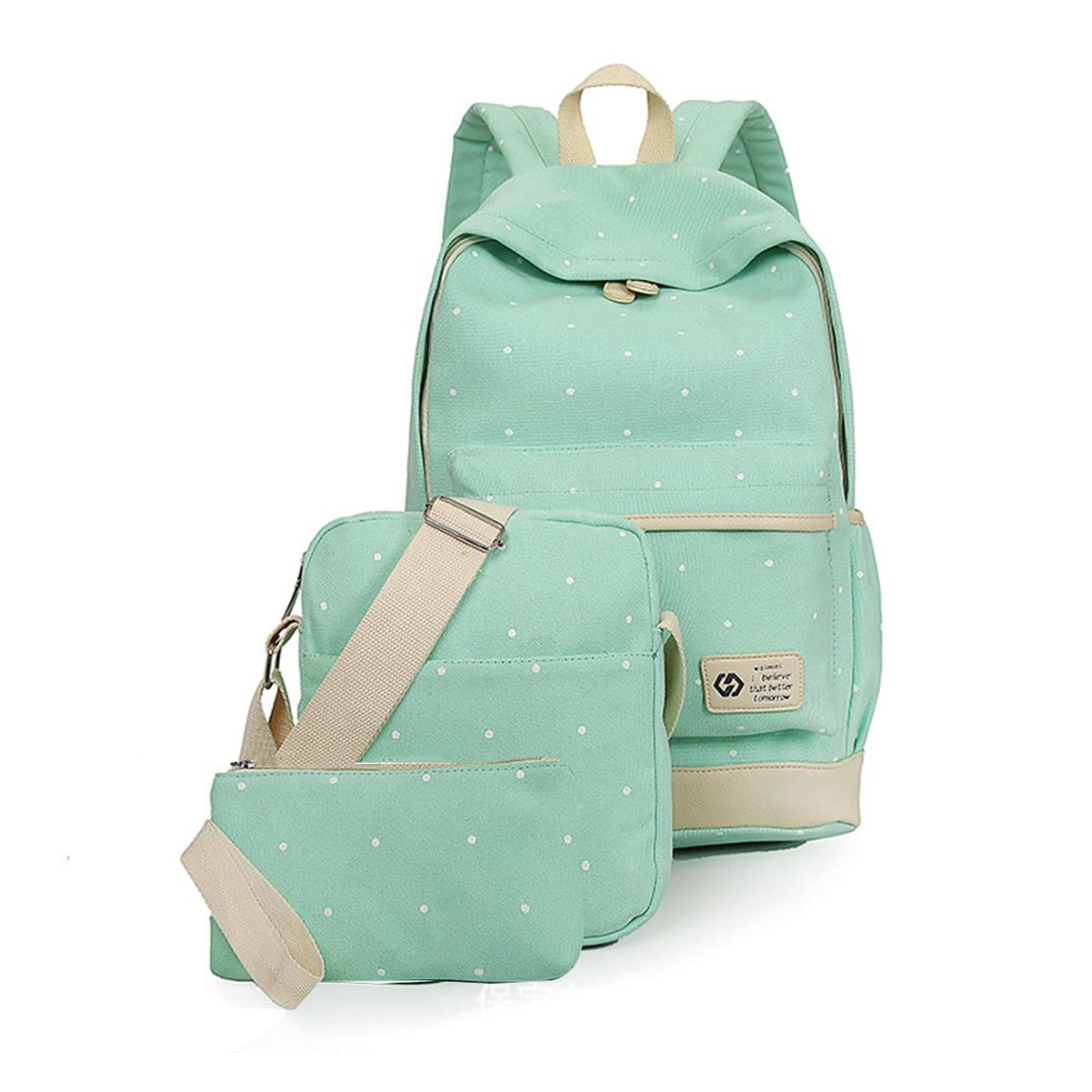 Fashionwu Casual Lightweight Rucksack Canvas Wallet/Shoulder Bag/School Backpack Dot Set Green