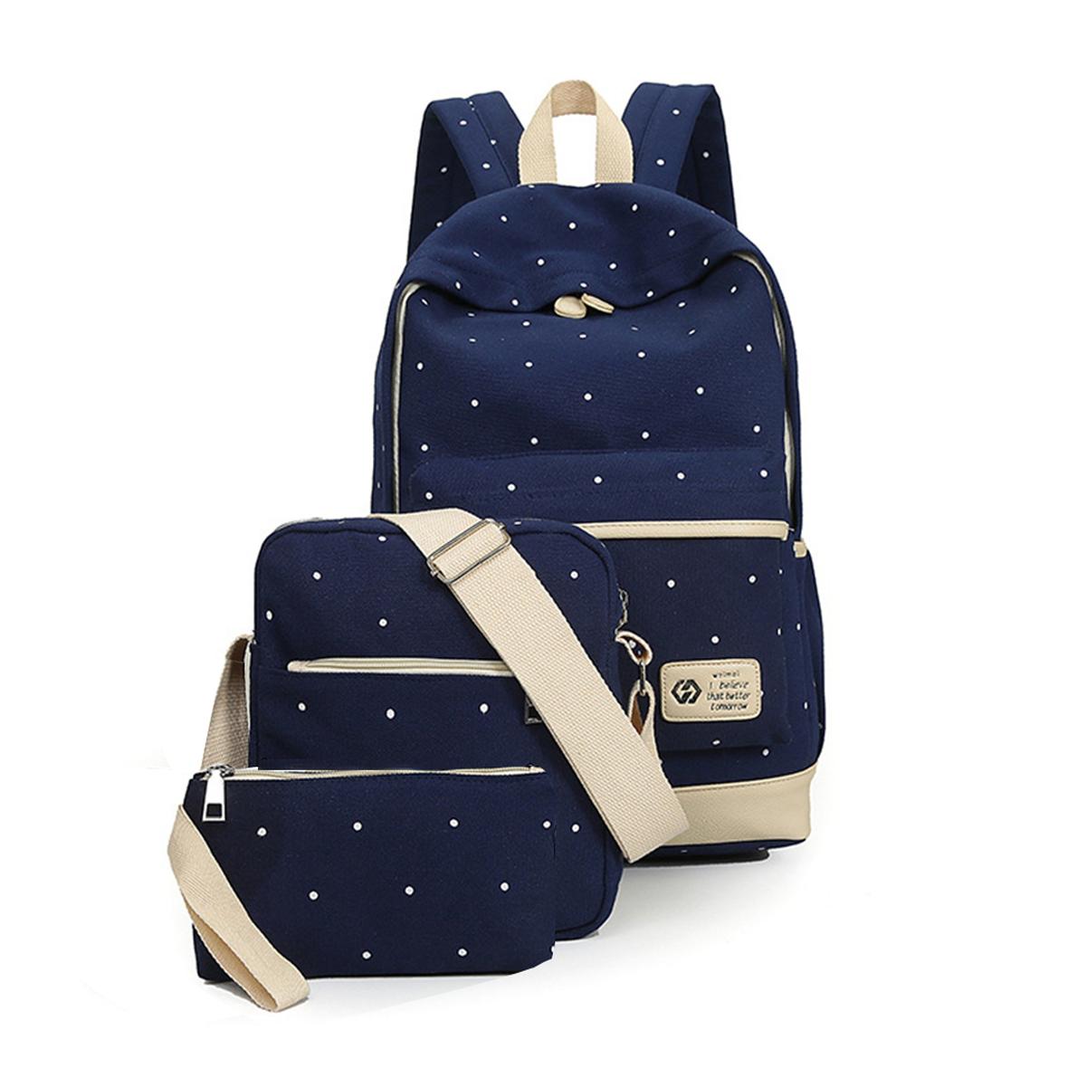 Casual Lightweight Rucksack Canvas Wallet/Shoulder Bag/School Backpack Dot Set