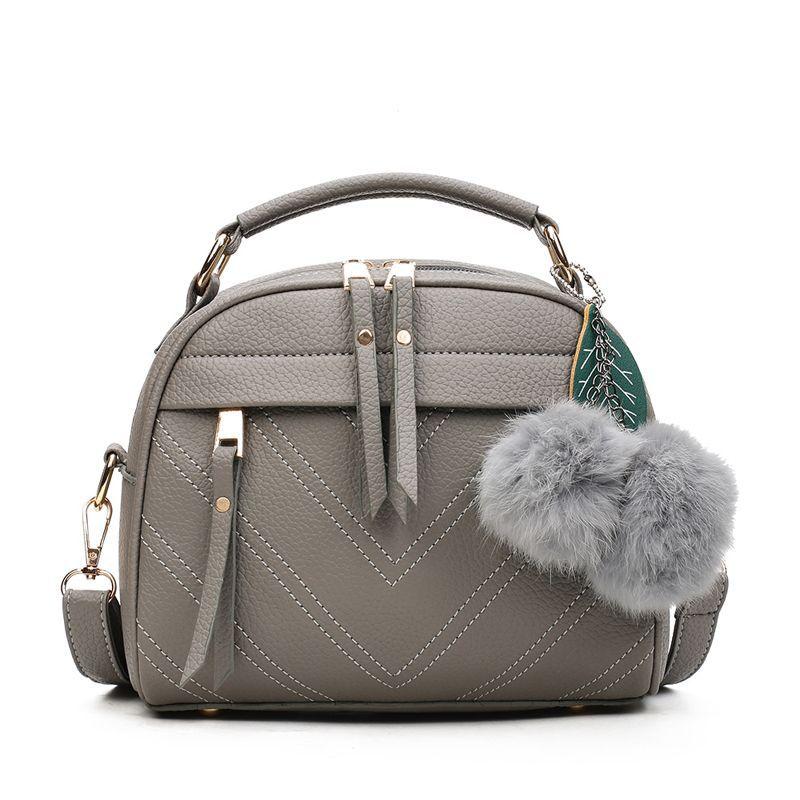 Women Fashion Hairball Pendant Single Shoulder Bag Handbag Satchel