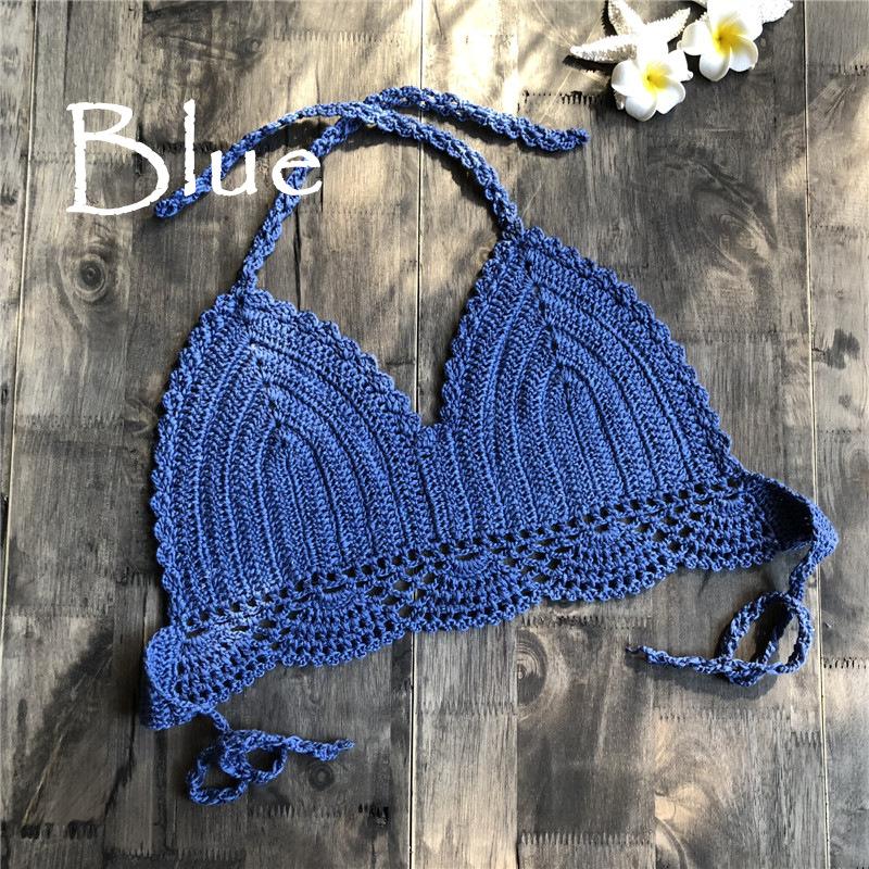 Women Delicate Knit Bikini Tops All-matching Bra blue_L