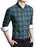 [US Direct] Young Horse Men's Spring Contrast Plaid Long Sleeve Button-down Shirt Green 5XL
