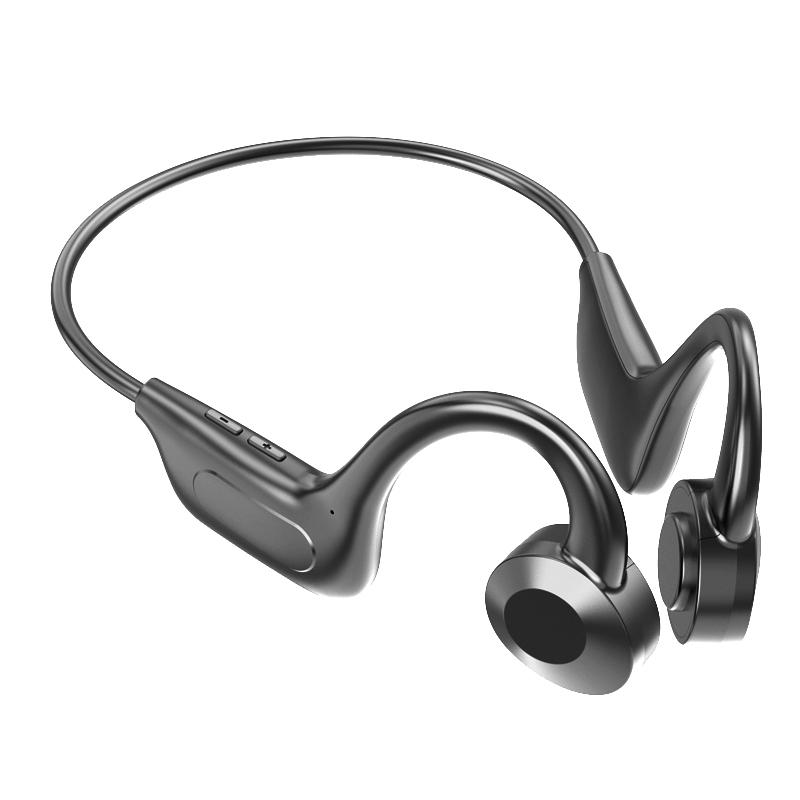 Headphones Bluetooth-compatible 5.1 Wireless Waterproof Comfortable Wear Light Weight Non-ear Sport Headset Black