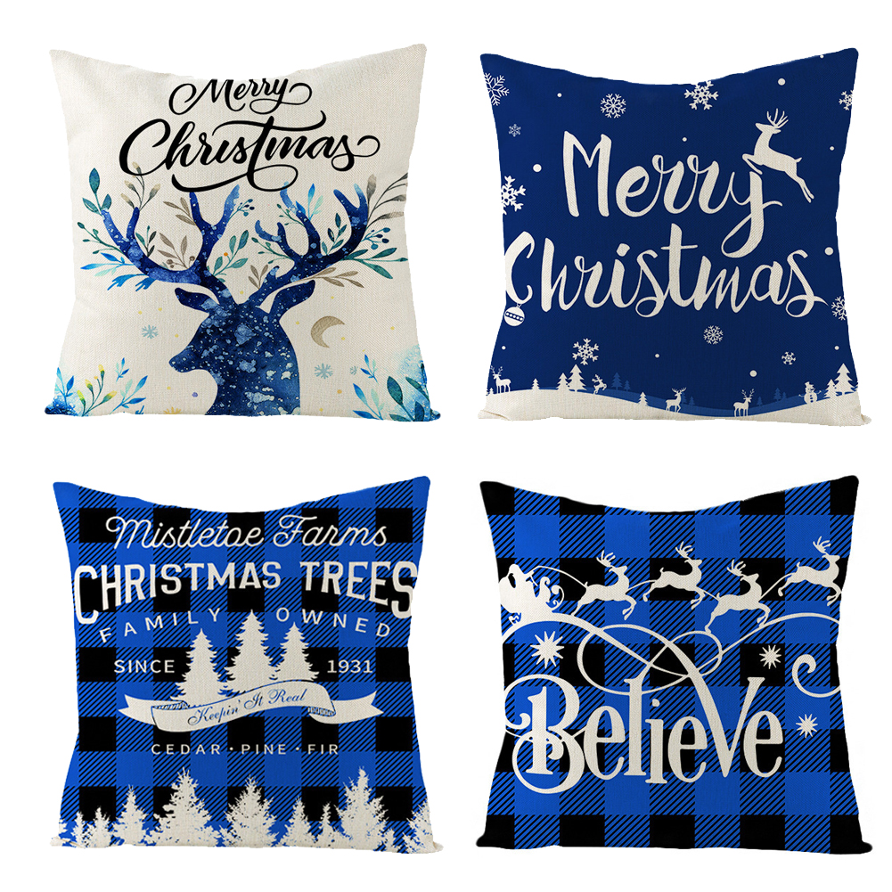 4pcs Linen Christmas Pillowcase Printed Elk Pillow Cushion For Home Living Room Sofa JYM139 Combination set 01_45*45cm (without pillow filling)