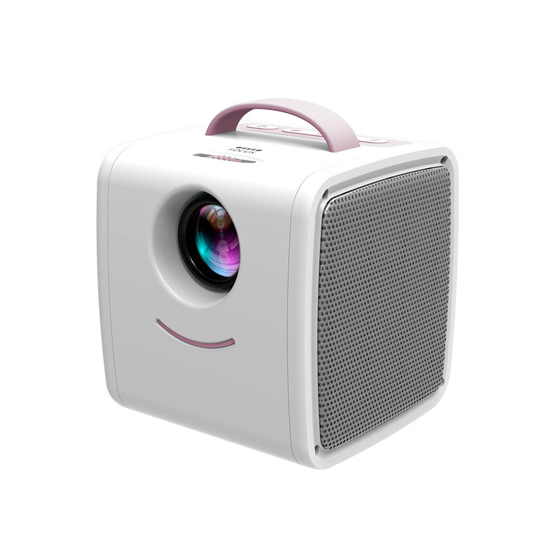 Q2 Smart Projector Portable Mini Children Projector with HDMI AV USB TF Card Interface for Movie Watching Funny Playing Pink_European regulations