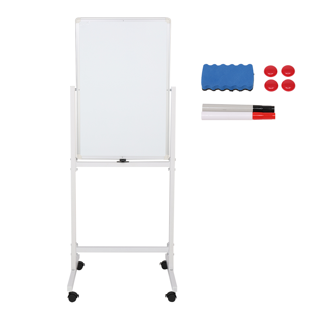 [US Direct] 1 Set Of 120x60cm Vertical Movable Double-sided  Whiteboard With Stand For Office Classroom Home White