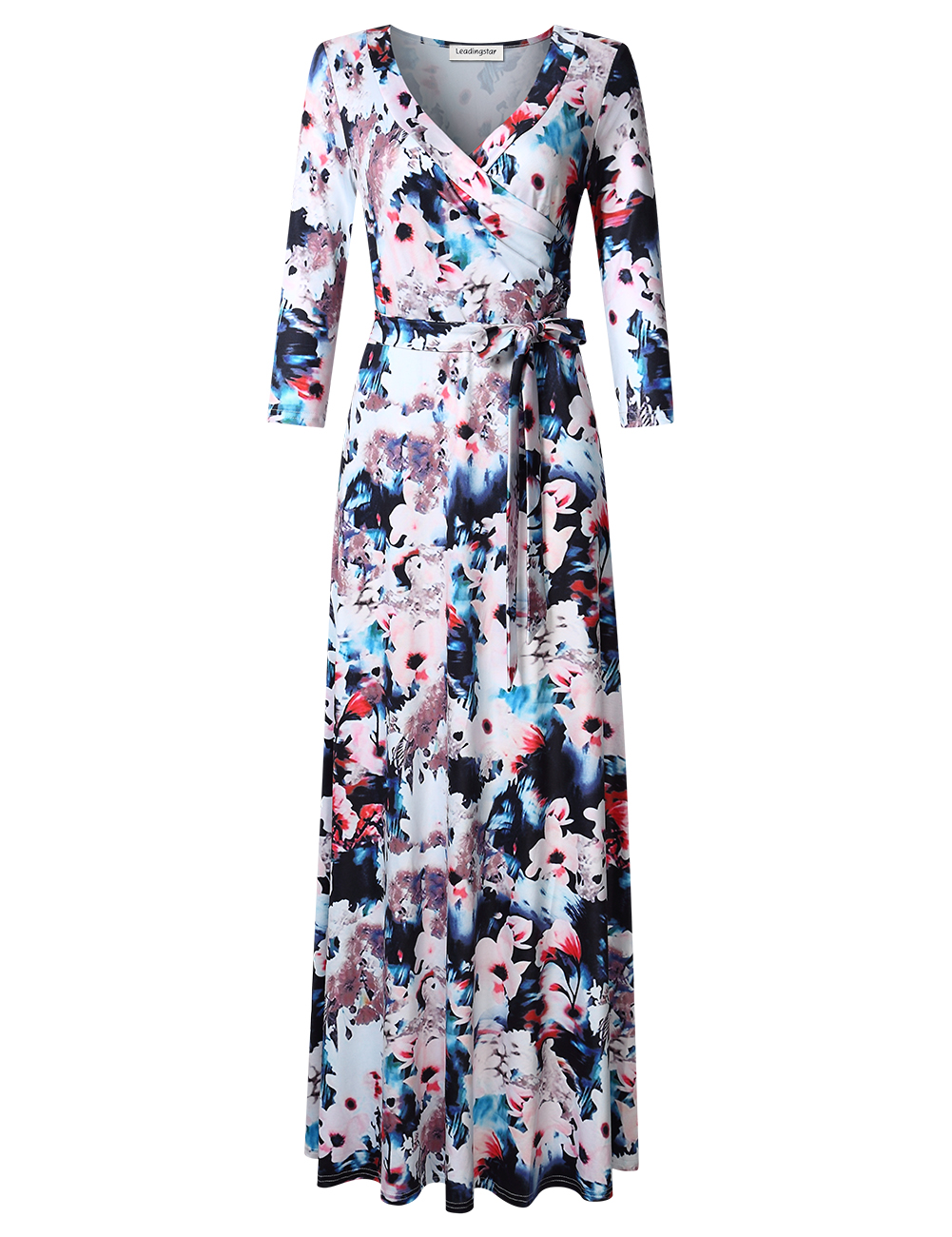 Leadingstar Women's Dress Ink floral print M