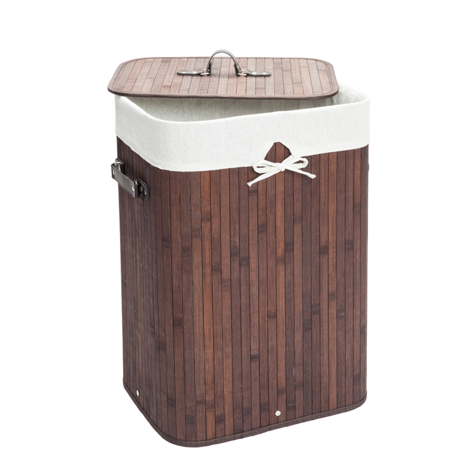 [US Direct] 1 Set Bamboo Single-compartment Folding  Dirty  Clothes  Hamper With Lid Side Carrying Handles Dark brown