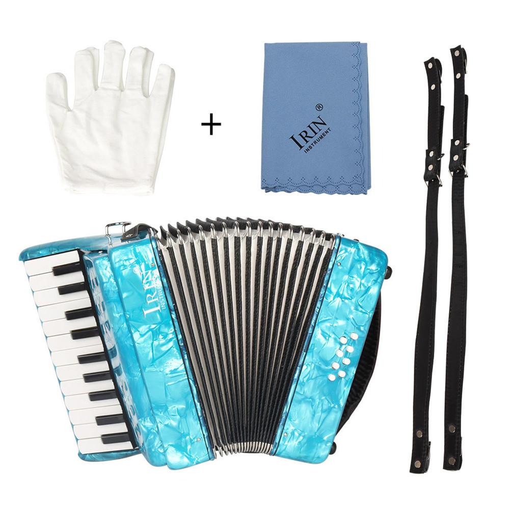 22-Keys 8 Bass Accordion Musical Instrument Rhythm Band for Beginner Children blue