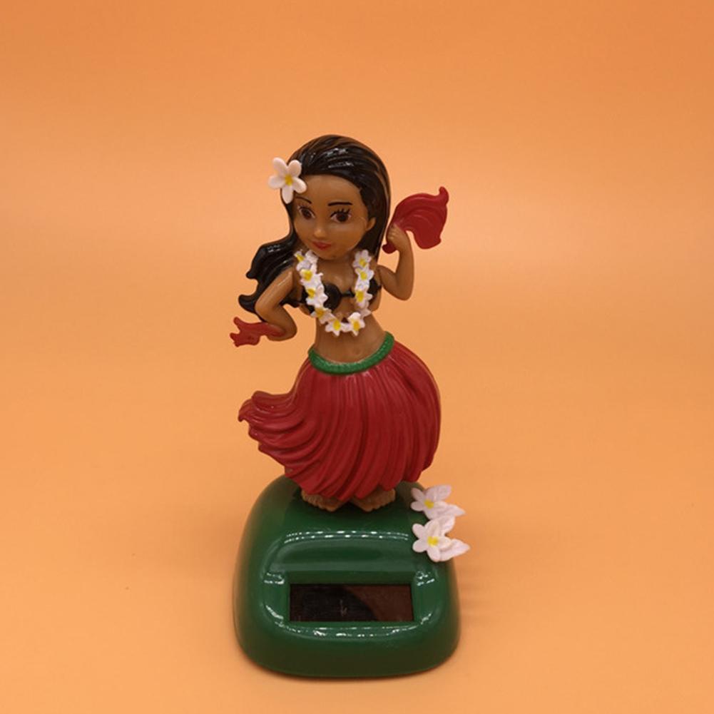 Hawaii Solar Powered Straw skirt Ornament Solar Dancing Ornament Hula Doll Decoration 11cm high