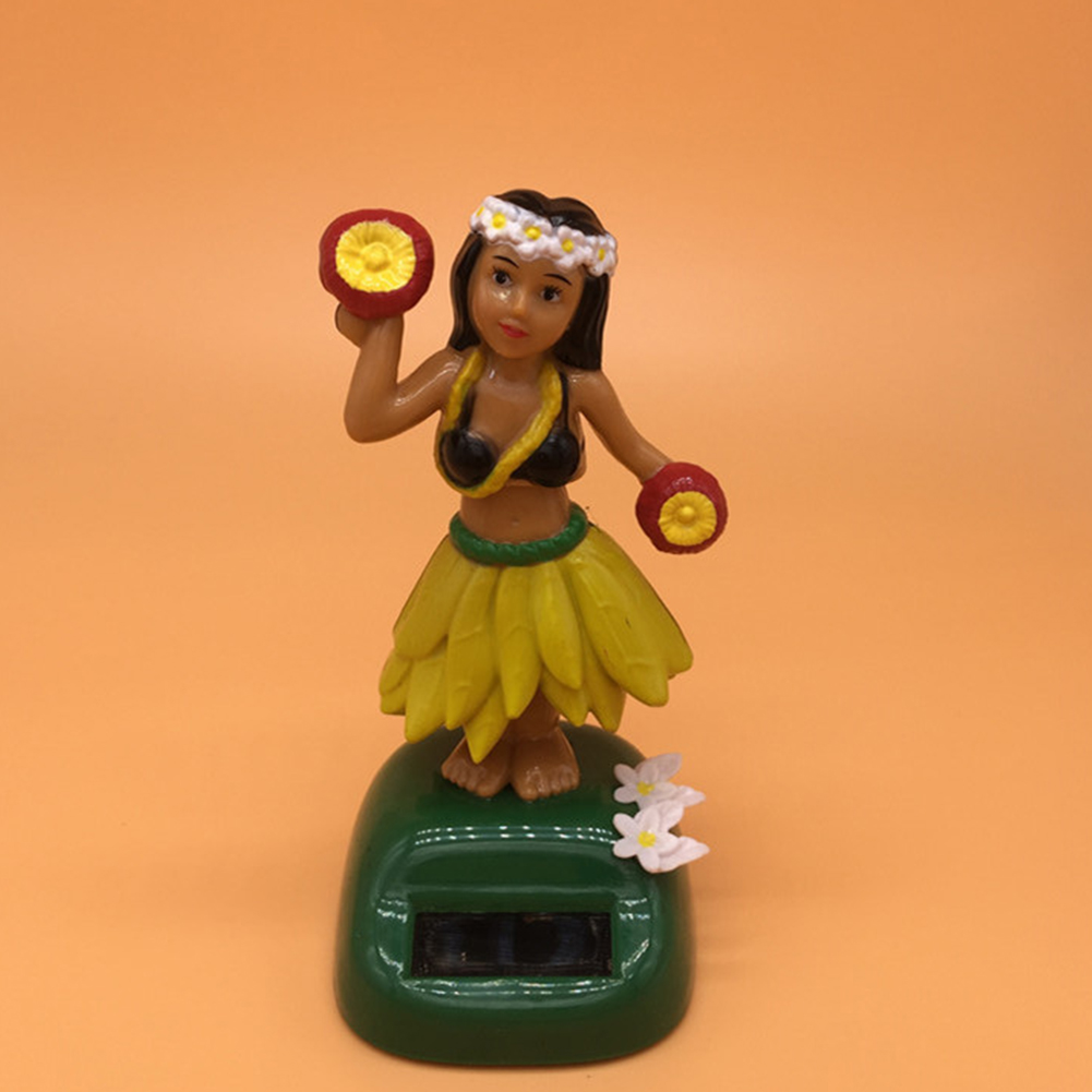Hawaii Solar Powered Straw skirt Ornament Solar Dancing Ornament Hula Doll Decoration 11cm high