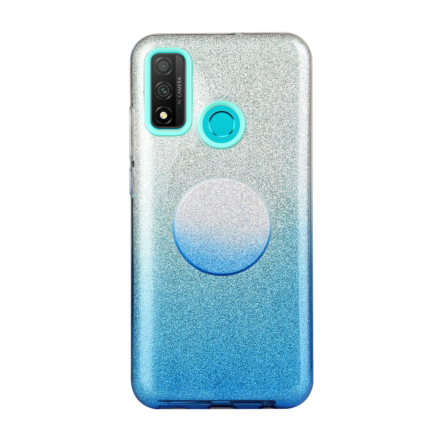 For HUAWEI Mate 30/Nova 5I pro/Mate 30 Pro/PSmart /Y5P/Y6P 2020 Phone Case Gradient Color Glitter Powder Phone Cover with Airbag Bracket blue