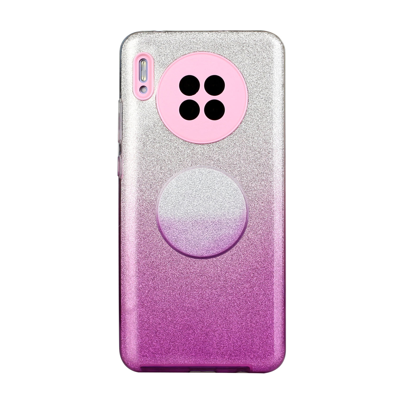 For HUAWEI Mate 30/Nova 5I pro/Mate 30 Pro/PSmart /Y5P/Y6P 2020 Phone Case Gradient Color Glitter Powder Phone Cover with Airbag Bracket purple
