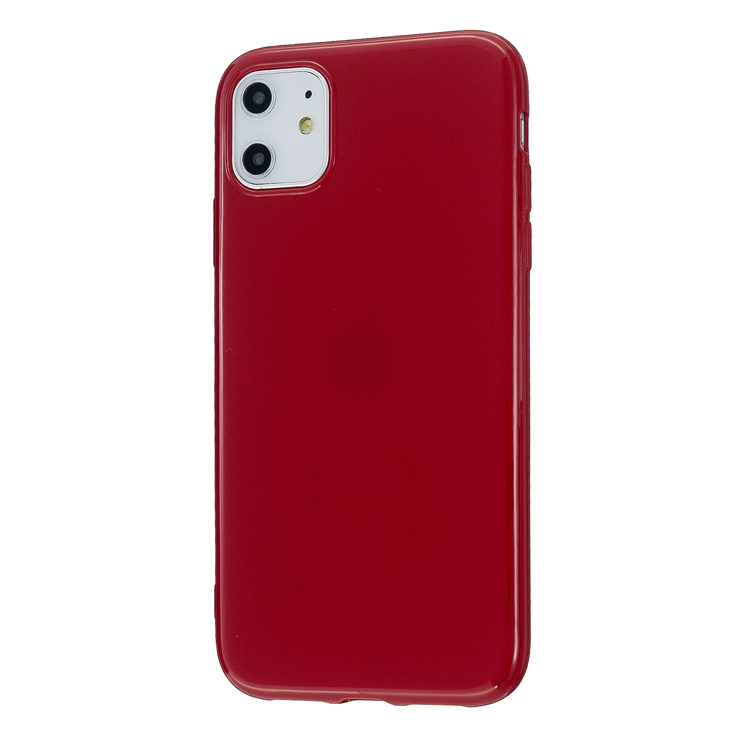 For iPhone 11/11 Pro/11 Pro Max Smartphone Cover Slim Fit Glossy TPU Phone Case Full Body Protection Shell Rose red