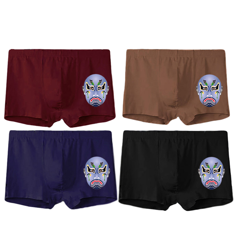 4 Pcs/set Men's Panties Boxer Mid-rise Breathable Youth Boxer Shorts nns0007_XXL