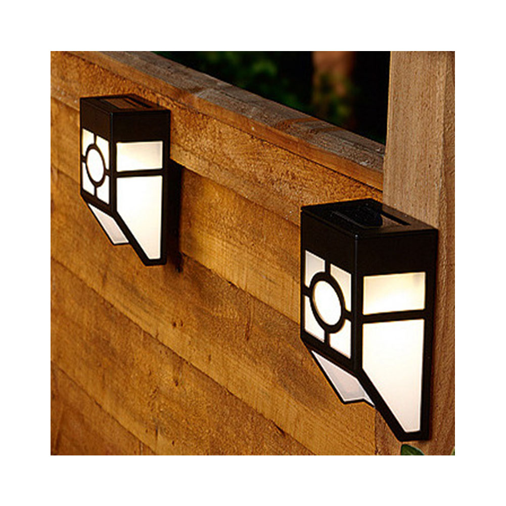 2 LED Solar-powered Wall Lamp Light Sensor Yard Street Fence Light Decoration warm light