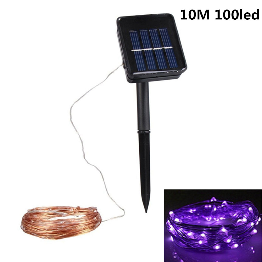 10M 100LED Outdoor Solar Powered Copper Wire String Light Night Lamp with Ground Pin Rod  Yard Garden Decoration purple light_double function copper wire colour