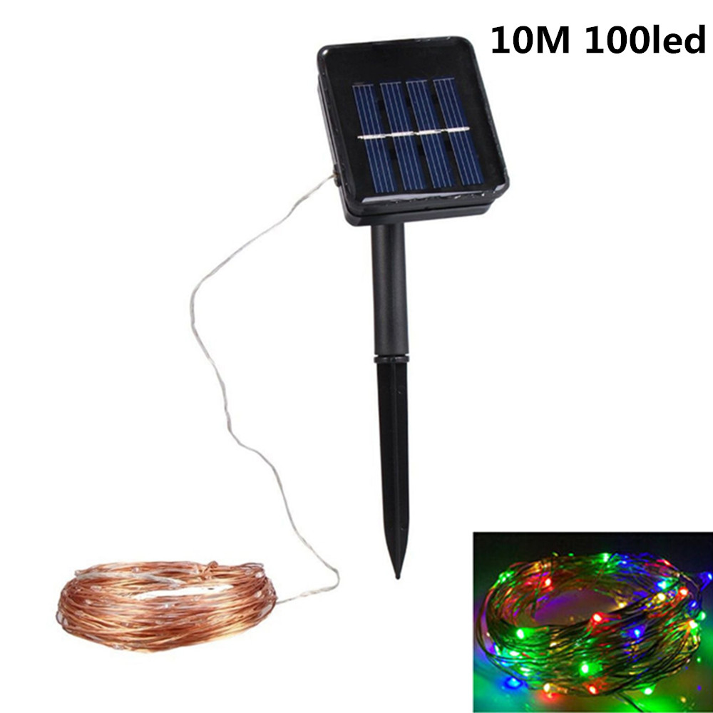 10M 100LED Outdoor Solar Powered Copper Wire String Light Night Lamp with Ground Pin Rod  Yard Garden Decoration colourful light_double function copper wire colour