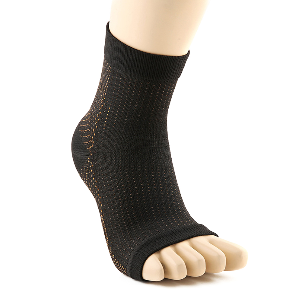 1Pair Medical Plantar Fasciitis Socks with Arch Joint Support Sports Compression Foot Sleeves for Women & Man Copper fiber
