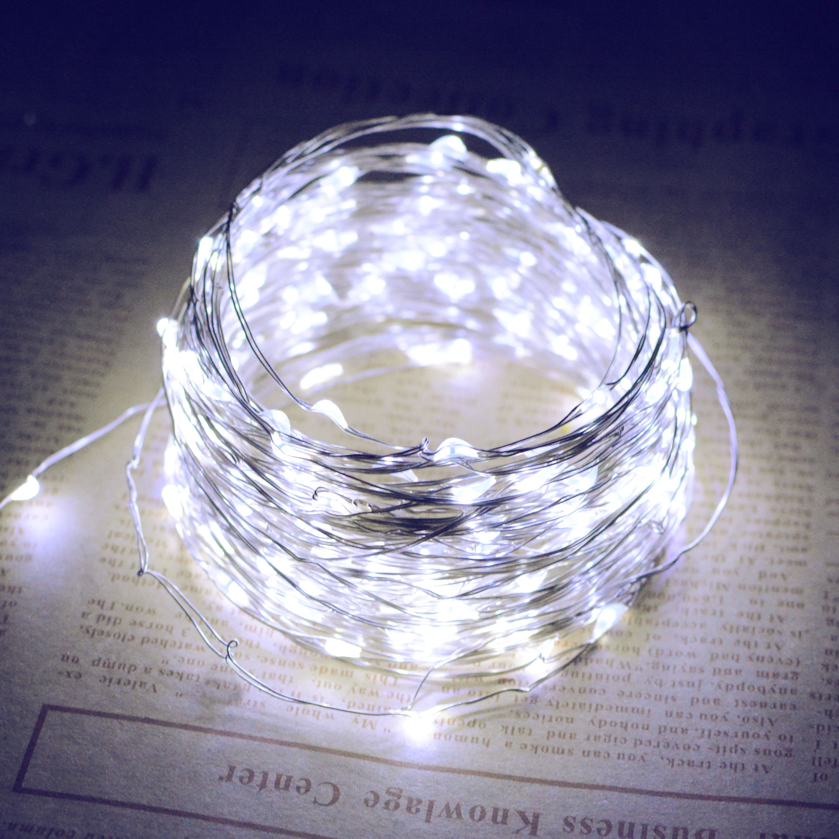 10M/20M 100LEDs/200LEDs Romanstic Solar Powered Copper Wire String Light White light_10 meters 100 LED_(ME0003301)