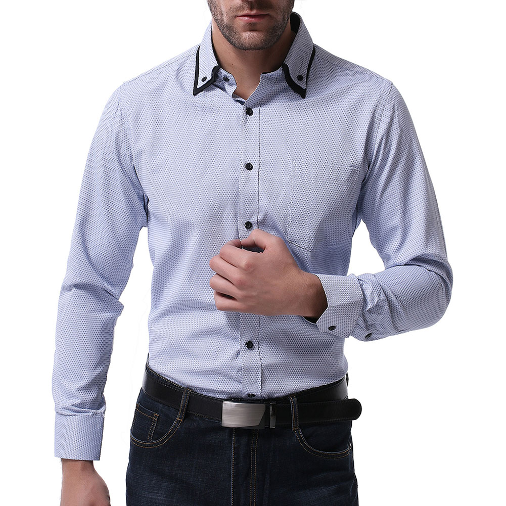 Men Casual Formal Shirt Long Sleeve Cotton Lapel Adults Business Tops Light blue_XXL
