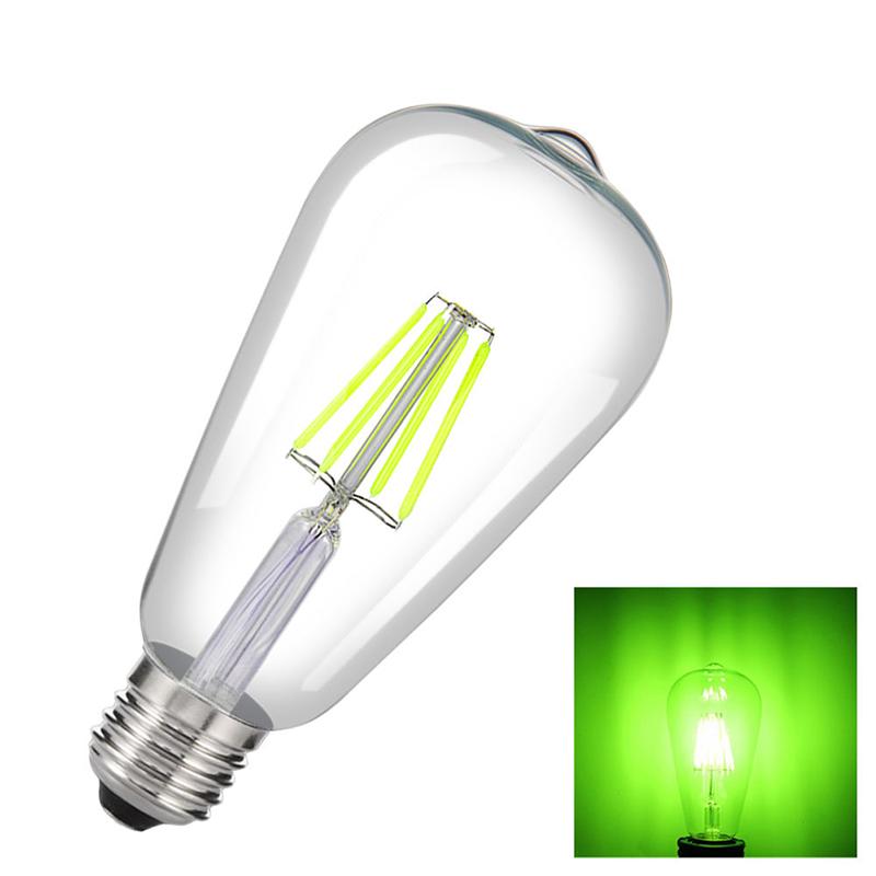 Retro Decorative Edison Bulb LED COB E27 Screw Cap Pub Bar Ambient Filament Light Bulb Green