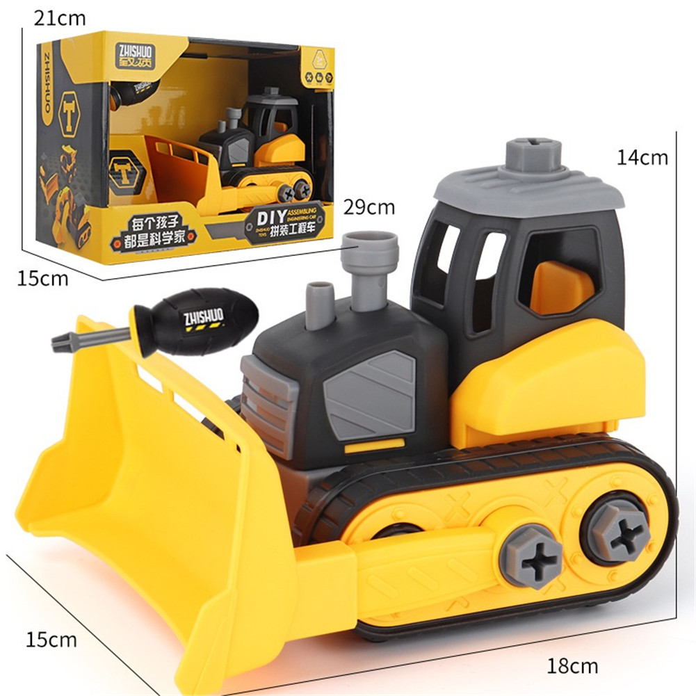 Children Take Apart Construction Educational DIY Engineering Vehicle Toys Gifts for Kids Rollover truck