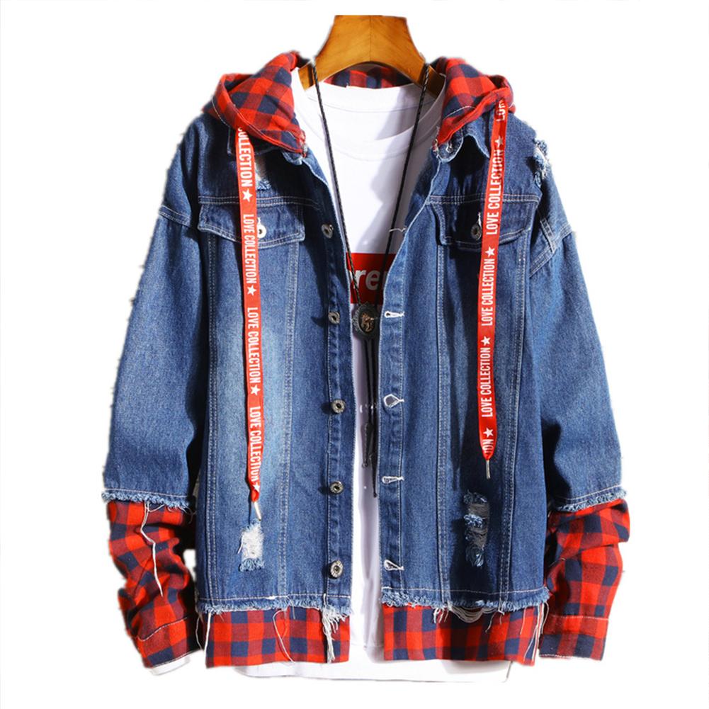 Men Fake Two Pieces Denim Jacket Plaid Short Fashion Coat  260 red plaid - dark blue_M