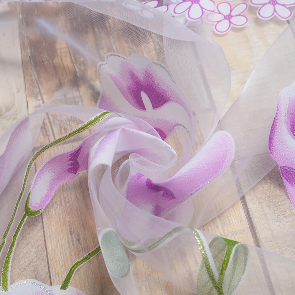 Calla Lily Printing Curtain Yarn Drapes for Living Room Bedroom Balcony Window purple_W100cm * H200cm