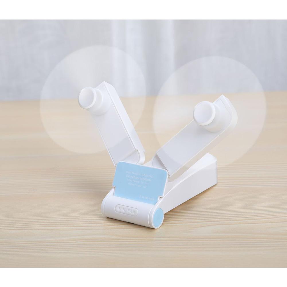 Portable Handheld USB Mini Fan v36 Double Head Folding Desktop Electric Fan  white_44 * 36 * 103mm