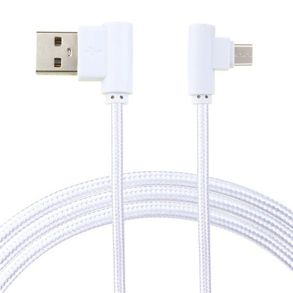 Braid USB Nylon Charging Cable L Shape Line for Type-c Android Xiaomi micro (white)