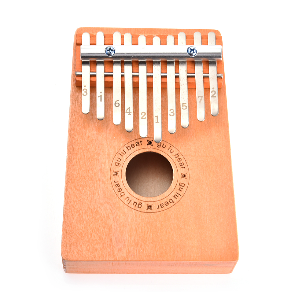 10 Keys Wooden Kalimba Thumb Finger Piano Musical Instrument Study Instruction Kids Christmas Gift Children Toys Wood color